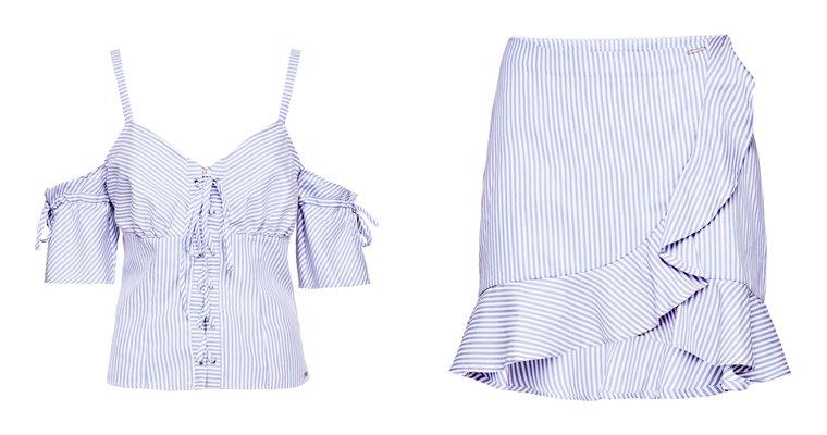 Женская коллекция Guess весна-лето 2018 - сиреневый топ и юбка с воланами