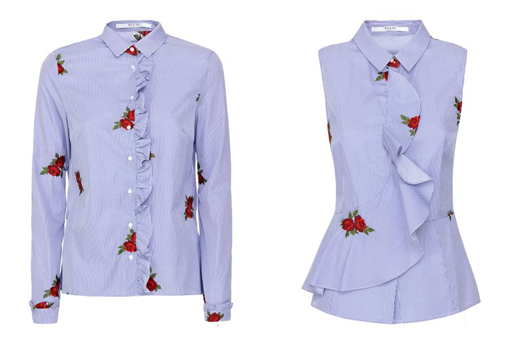 Женская коллекция Guess весна-лето 2018 - сиреневые рубашка и блузка с воланами
