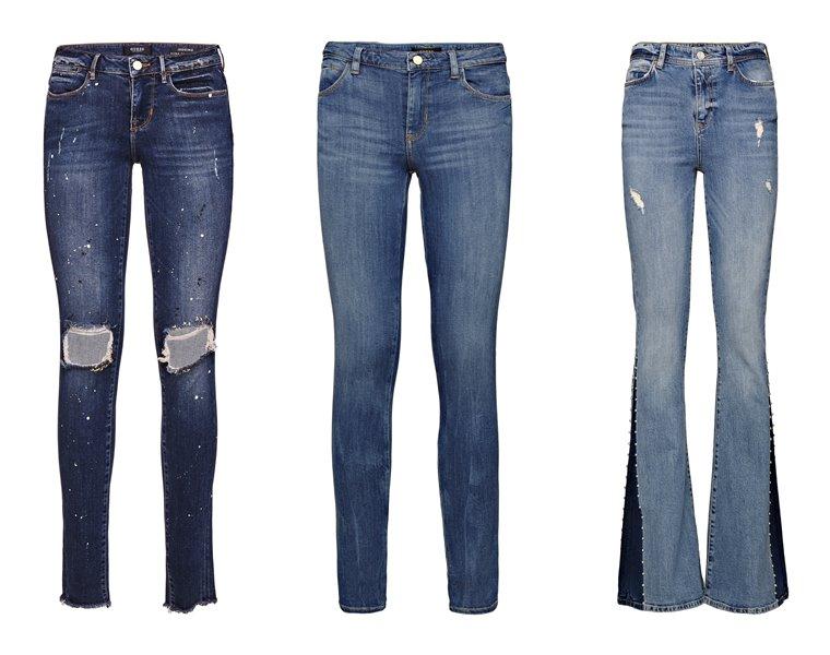 Женская коллекция Guess весна-лето 2018 - рваные, расклешенные и облегающие джинсы