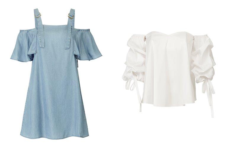 Женская коллекция Guess весна-лето 2018 - голубая и белая блузка с открытыми плечами