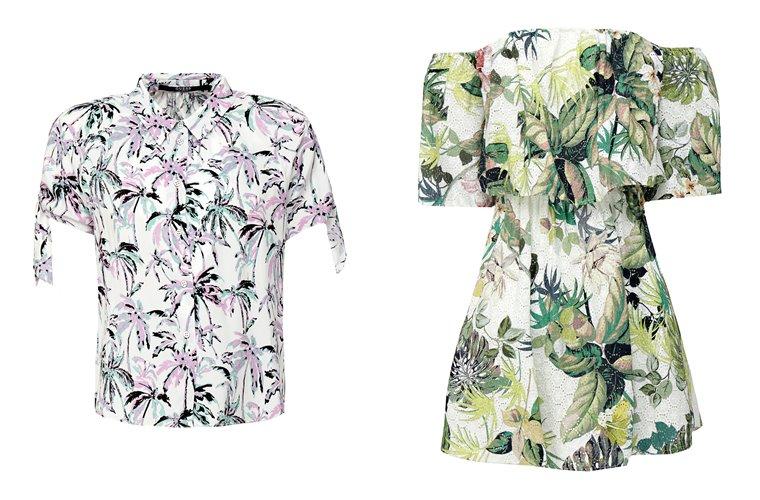 Женская коллекция Guess весна-лето 2018 -цветочная блузка и платье-мини
