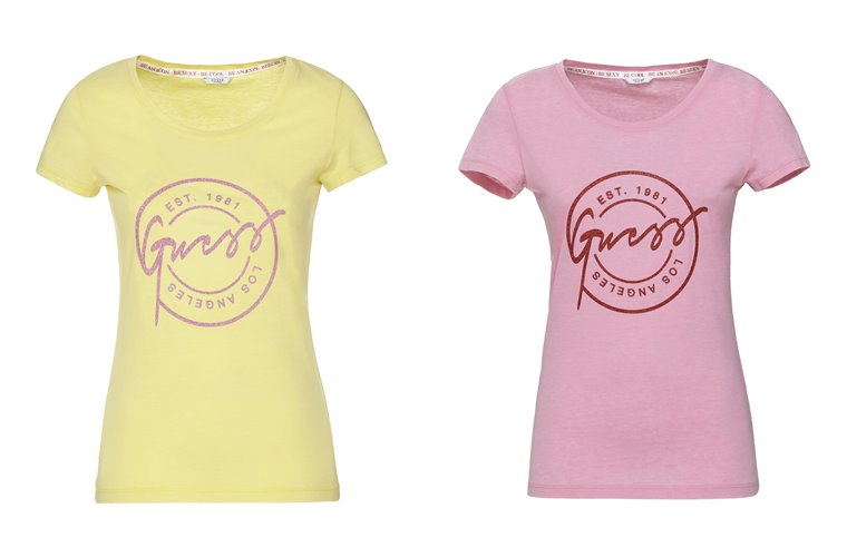 Женская коллекция Guess весна-лето 2018 - желтая и розовая футболки с логотипом