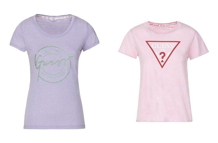 Женская коллекция Guess весна-лето 2018 - сиреневая и розовая футболки с логотипом