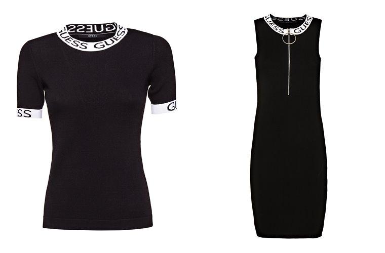 Женская коллекция Guess весна-лето 2018 - черный топ и платье в спортивном стиле