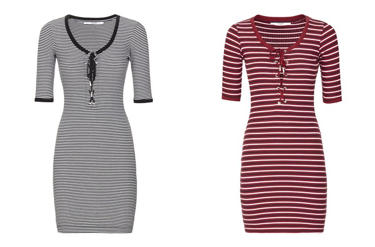 Женская коллекция Guess весна-лето 2018 - облегающие короткие платья-футболки  в полоску
