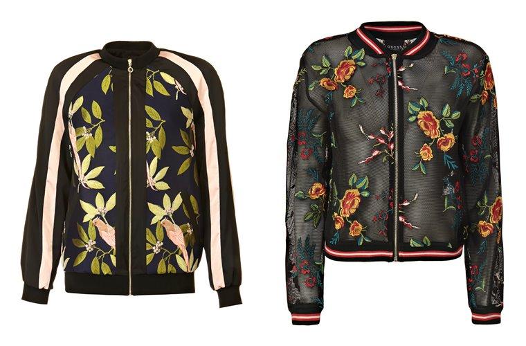Женская коллекция Guess весна-лето 2018 - куртки-бомберы с цветочным принтом