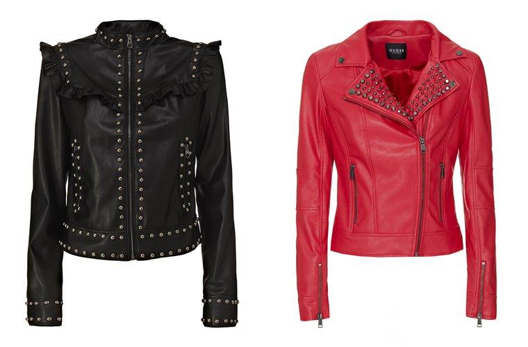 Женская коллекция Guess весна-лето 2018 - черная и красная кожаные куртки с заклепками