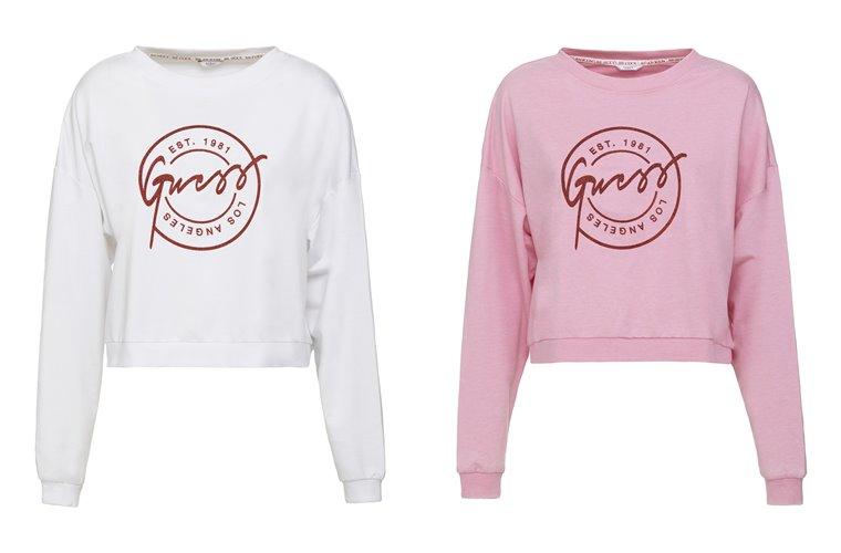 Женская коллекция Guess весна-лето 2018 -белый и розовый свитшоты