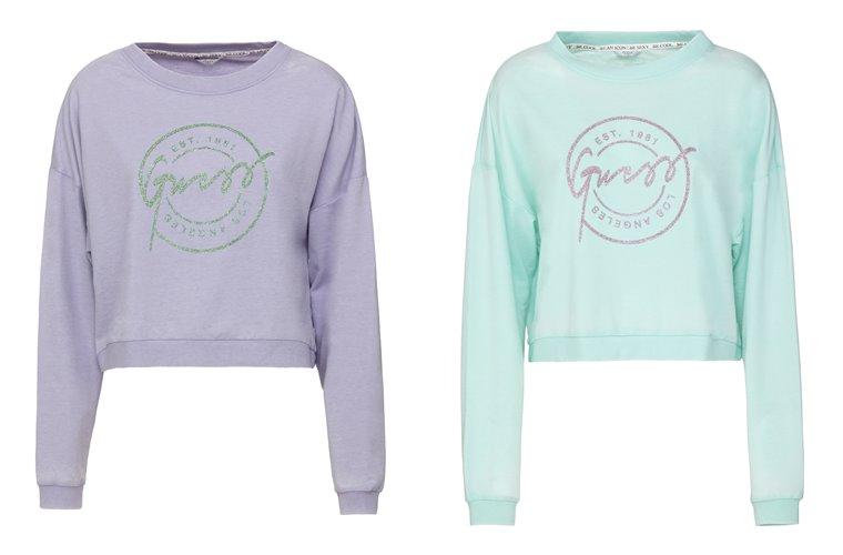 Женская коллекция Guess весна-лето 2018 - лиловый и мятный свитшоты