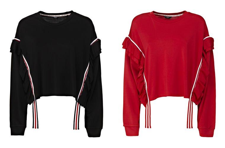 Женская коллекция Guess весна-лето 2018 - чёрный и красный свитера с воланами