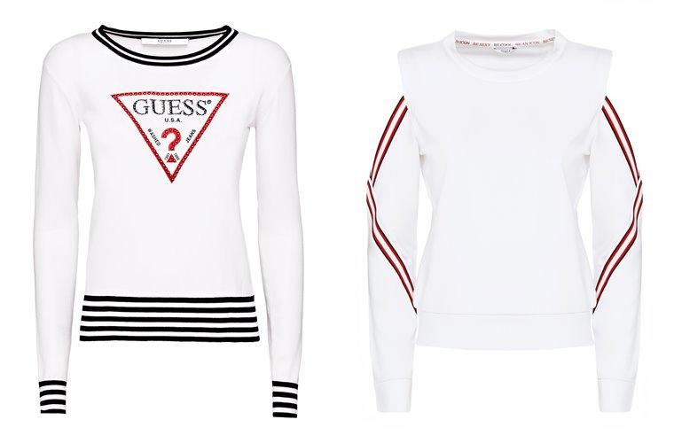 Женская коллекция Guess весна-лето 2018 - белые свитера с полосками