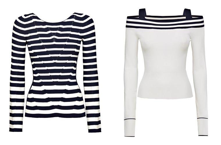 Женская коллекция Guess весна-лето 2018 - чёрно-белые свитера из тонкого трикотажа в полоску