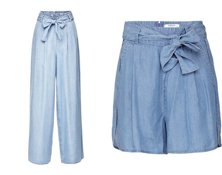 Женская коллекция Guess весна-лето 2018 - широкие голубые брюки и шорты из голубого денима
