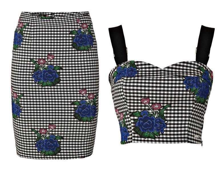 Женская коллекция Guess весна-лето 2018 - юбка карандаш и топ в клетку с цветами