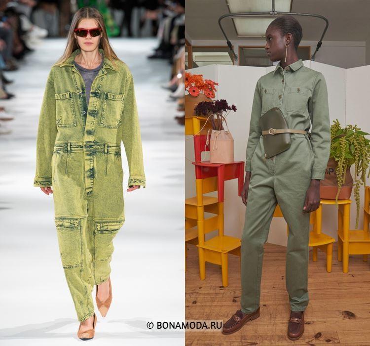 Женские комбинезоны весна-лето 2018 - Зелёные джинсовые комбинезоны с длинными рукавами