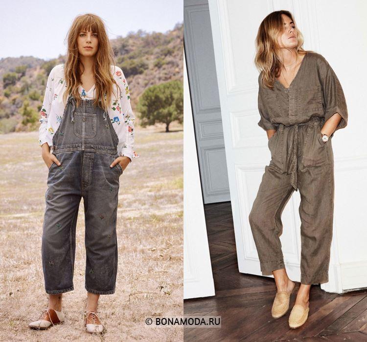 Женские комбинезоны весна-лето 2018 - Серый и коричневый джинсовые комбинезоны