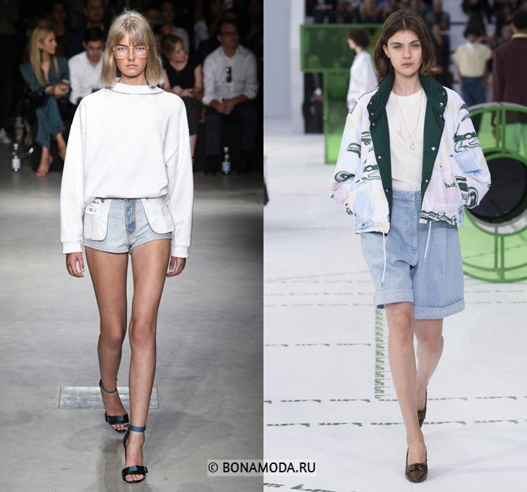 Женские шорты весна-лето 2018 - Светло-голубые джинсовые шорты
