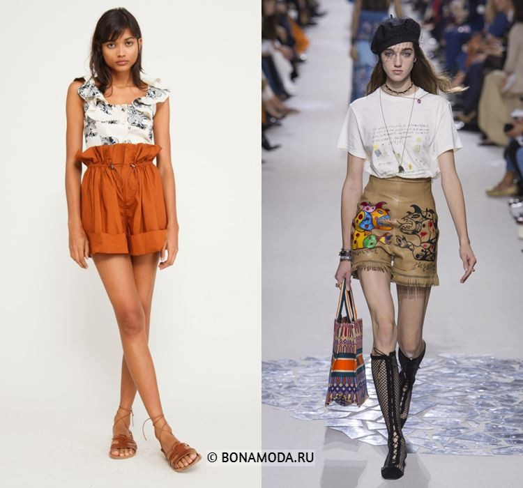 Женские шорты весна-лето 2018 - Модные шорты с завышенной талией