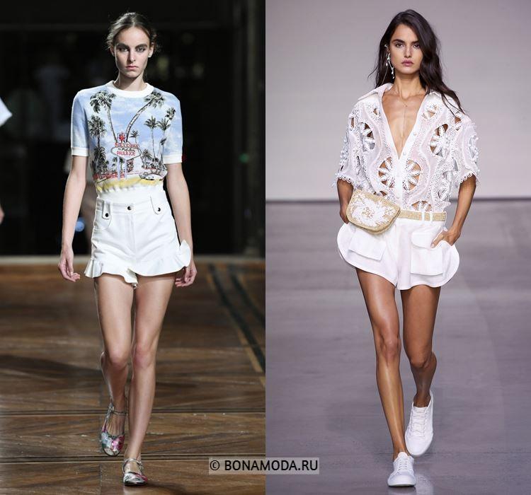 Женские шорты весна-лето 2018 - Белые шорты с воланами
