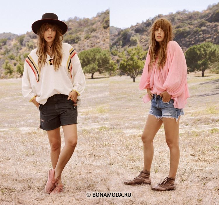 Женские шорты весна-лето 2018 - Короткие джинсовые шорты с туниками