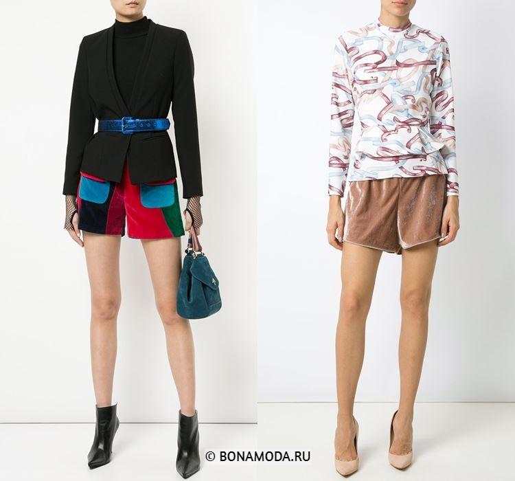 Женские шорты весна-лето 2018 - Яркие и бежевые бархатные шорты