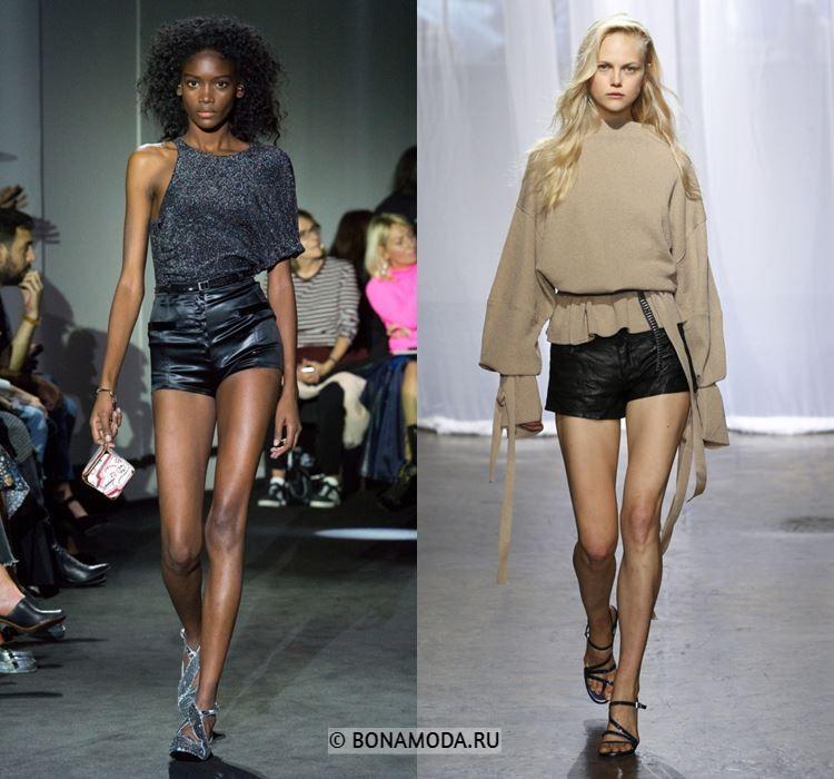Женские шорты весна-лето 2018 - Короткие облегающие чёрные кожаные шорты
