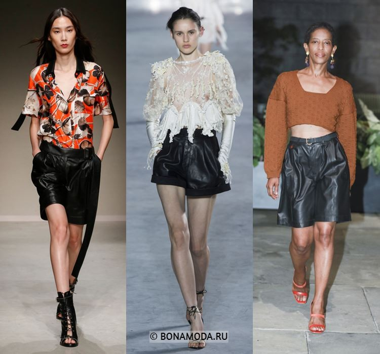 Женские шорты весна-лето 2018 - Свободные чёрные кожаные шорты и бриджи