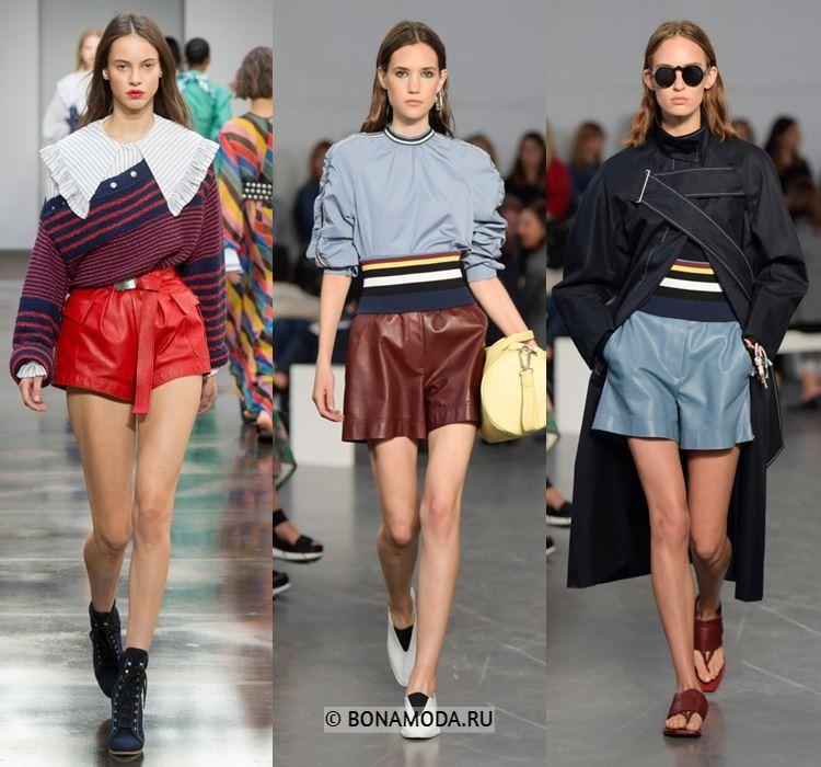 Женские шорты весна-лето 2018 - Цветные кожаные шорты - красные, коричневые голубые