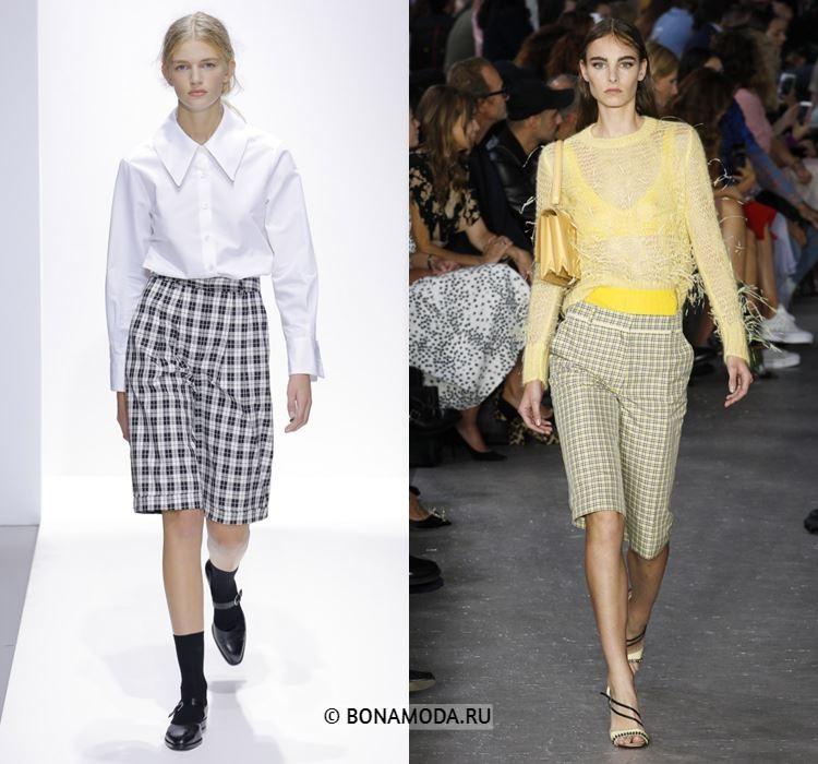 Женские шорты весна-лето 2018 - Модные бриджи в клетку до колена