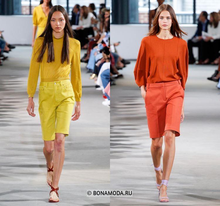 Женские шорты весна-лето 2018 - Элегантные жёлтые и оранжевые бриджи до колена