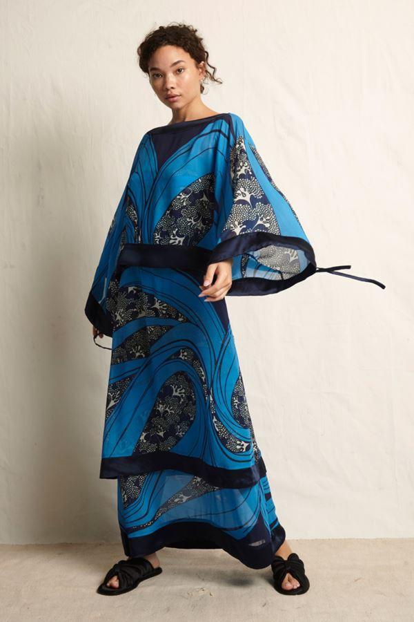 Женские туники весна-лето 2018 - Длинное синяя платье-туника в японском стиле Warm