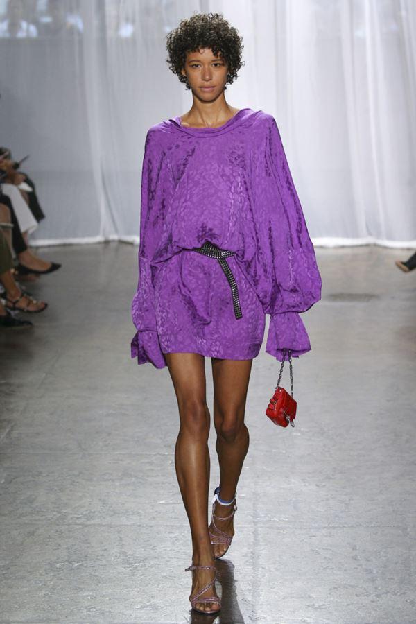 Женские туники весна-лето 2018 - Фиолетовое платье-туника с длинными рукавами Zadig & Voltaire