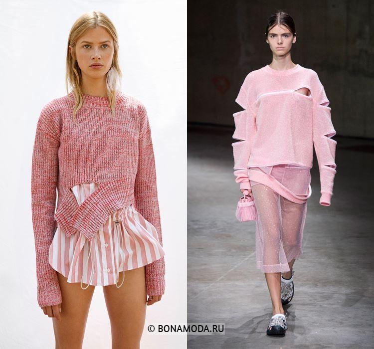 Женские вязаные свитера весна-лето 2018 - Розовые молодёжные рваные свитера