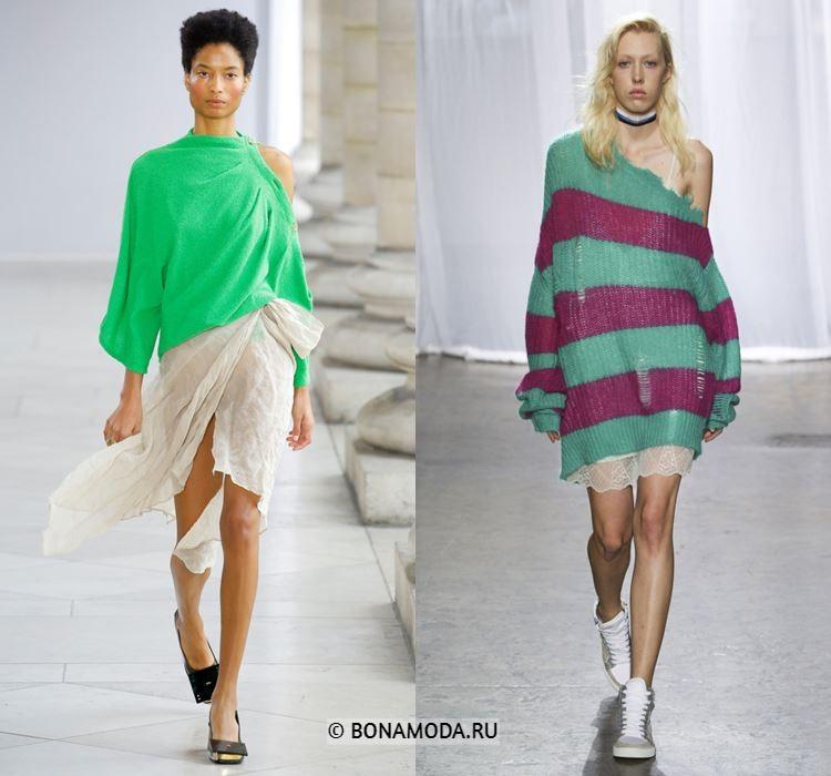 Женские вязаные свитера весна-лето 2018 - вытянутые молодёжные свитера на одно плечо