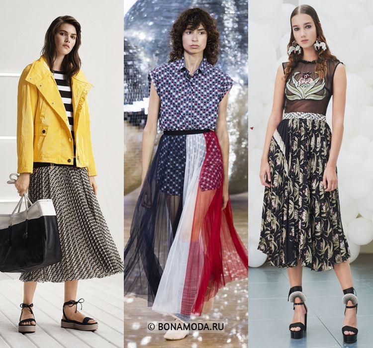 Женские юбки весна-лето 2018 - Плиссированные юбки-миди с принтом