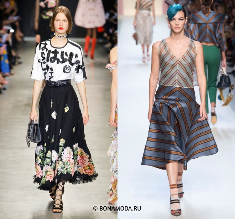 Женские юбки весна-лето 2018 - цветочная юбка-солнце и архитектурная юбка-трапеция в полоску