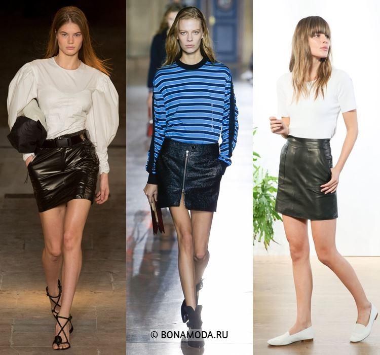 Женские юбки весна-лето 2018 - Короткие чёрные кожаные юбки