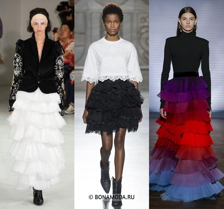 Женские юбки весна-лето 2018 - Короткие и длинные многоярусные юбки с воланами