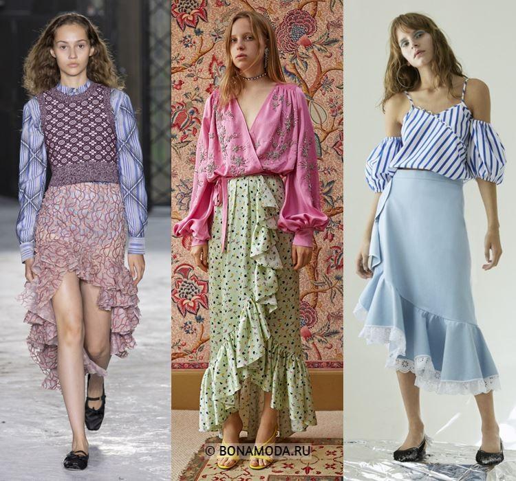 Женские юбки весна-лето 2018 - Розовая, зелёная и голубая юбки с воланами