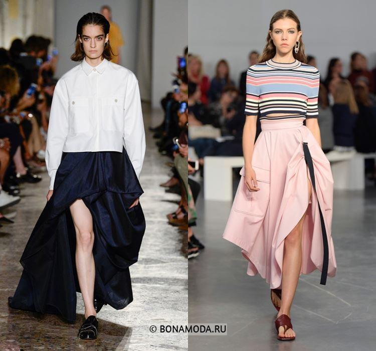 Женские юбки весна-лето 2018 - Длинные асимметричные юбки с драпировками