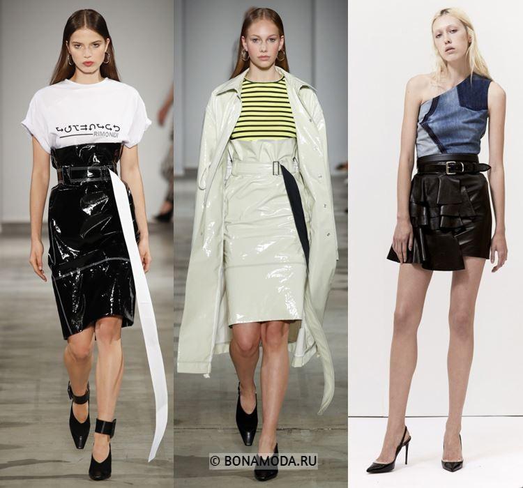 Женские юбки весна-лето 2018 - Кожаные юбки с завышенной талией