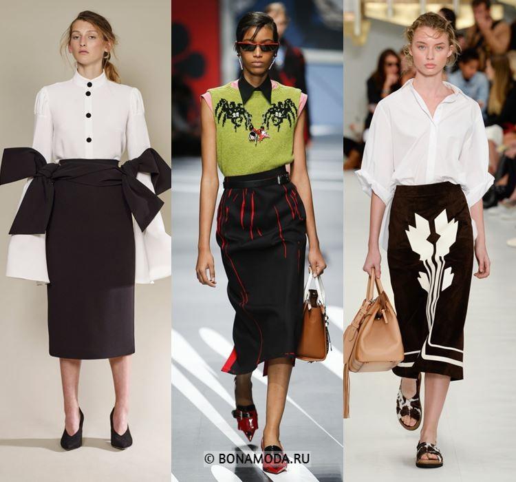 Женские юбки весна-лето 2018 - Чёрные и коричневая юбки-карандаш-миди