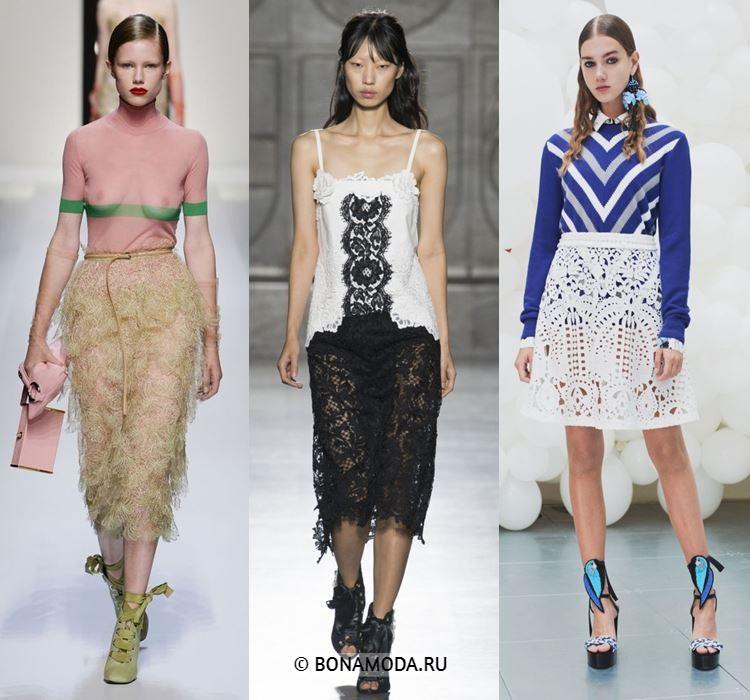 Женские юбки весна-лето 2018 - Полупрозрачные кружевные юбки
