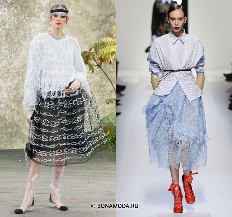 Женские юбки весна-лето 2018 - Пышные полупрозрачные кружевные юбки