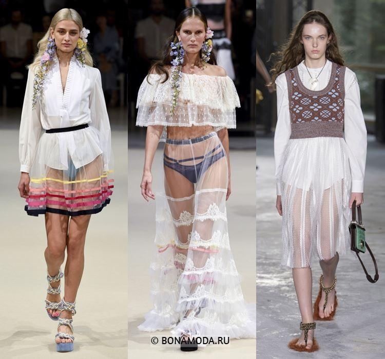 Женские юбки весна-лето 2018 - Белые прозрачные тюлевые юбки