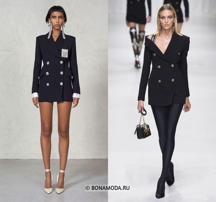 Женские жакеты и пиджаки весна-лето 2018 - Чёрные двубортные платья-блейзеры