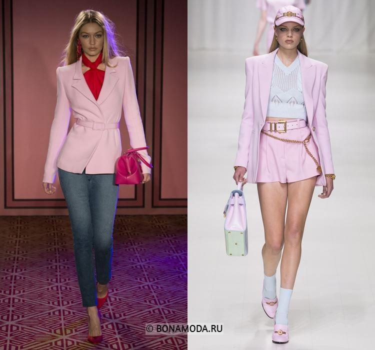 Женские жакеты и пиджаки весна-лето 2018 - Розовые жакеты с острыми плечами