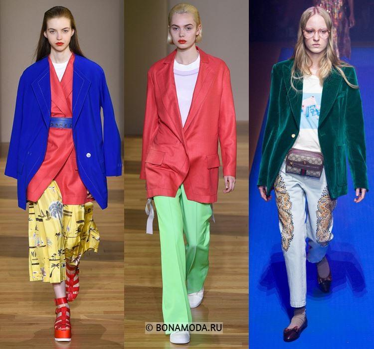 Женские жакеты и пиджаки весна-лето 2018 - Синий, красный и зелёный однобортные пиджаки