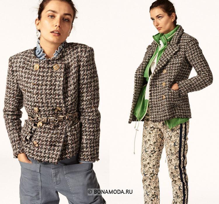 Женские жакеты и пиджаки весна-лето 2018 -  бежевые двубортные твидовые жакеты