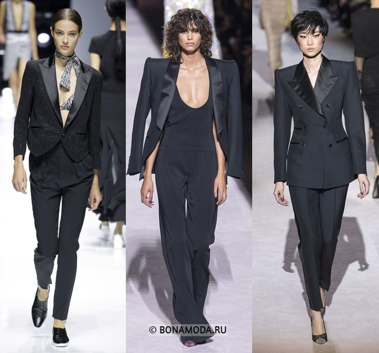 Женские жакеты и пиджаки весна-лето 2018 - чёрные костюмы со смокингами